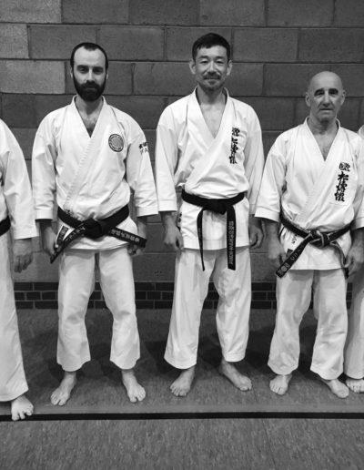 Kioshi Roger Carpenter, Sensei Alberto Scarpellini, Kancho Nobuaki Kanazawa, Sensei Domenico Scarpellini, Sensei Chris Gillies all standing in line